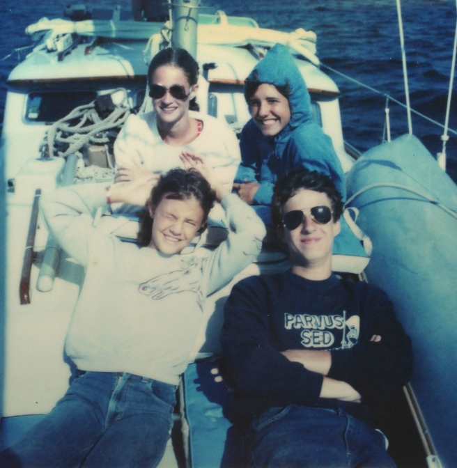 Clockwise from top left: Robin, Kathy, Rod, and me, rocking the Jordache sweatshirt circa 1983..