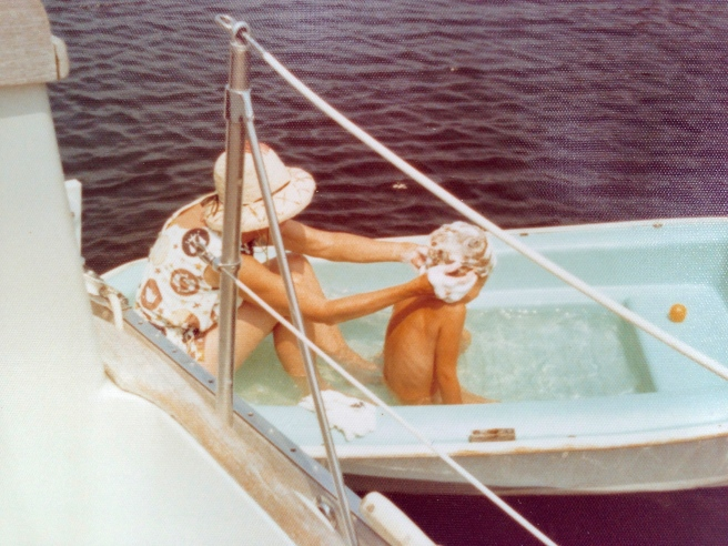 A dinghy bath.  It's the only swimsuit I remember her wearing!