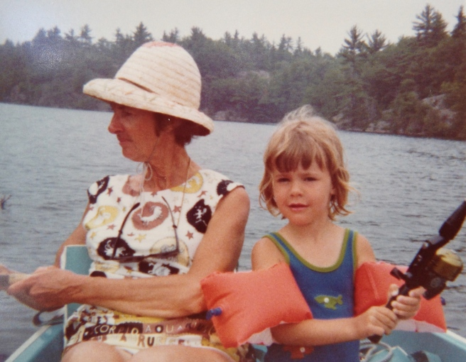 Fishing with my grandmother.